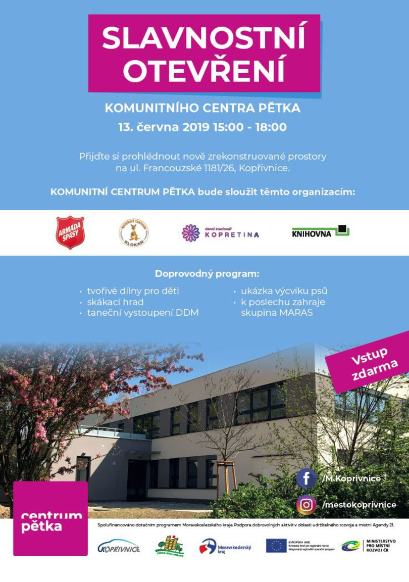 Slavnostní otevření komunitního centra Pětka